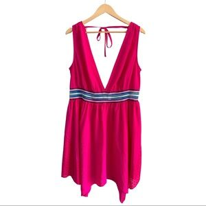 Cacique Pink Cover-Up with Stripe Waist